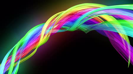 haklar : transparent colored lines with a neon glow on a black background. Motion graphics 3d looped background with multicolor colorful rainbow ribbons. Beautiful seamless background in motion design style 42