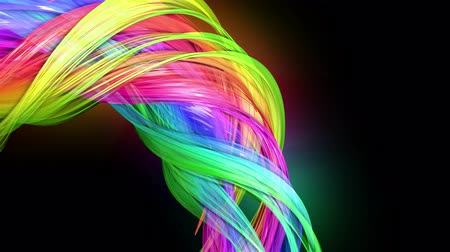 haklar : transparent colored lines with a neon glow on a black background. Motion graphics 3d looped background with multicolor colorful rainbow ribbons. Beautiful seamless background in motion design style 49