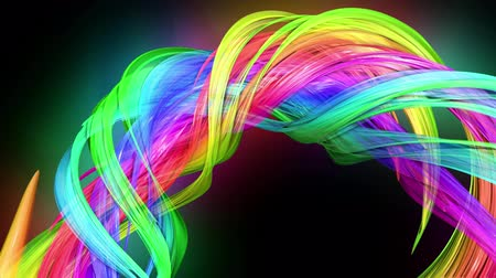 jednoduchý : transparent colored lines with a neon glow on a black background. Motion graphics 3d looped background with multicolor colorful rainbow ribbons. Beautiful seamless background in motion design style 54
