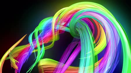 the magnification : transparent colored lines with a neon glow on a black background. Motion graphics 3d looped background with multicolor colorful rainbow ribbons. Beautiful seamless background in motion design style 58