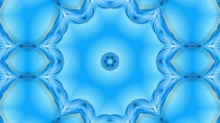 parlaklık : Abstract snowflake in motion of the blue lines of ribbons on a blue background. Kaleidoscopic effect. Winter glass ice composition. 4k seamless frames with matte brightness as alpha channel. Stok Video