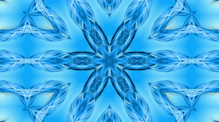 floco : Abstract snowflake in motion of the blue lines of ribbons on a blue background. Kaleidoscopic effect. Winter glass ice composition. 4k seamless frames with matte brightness as alpha channel. Vídeos