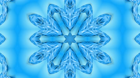 밝기 : Abstract snowflake in motion of the blue lines of ribbons on a blue background. Kaleidoscopic effect. Winter glass ice composition. 4k seamless frames with matte brightness as alpha channel. 무비클립