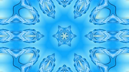 arabesk : Abstract snowflake in motion of the blue lines of ribbons on a blue background. Kaleidoscopic effect. Winter glass ice composition. 4k seamless frames with matte brightness as alpha channel. Stockvideo