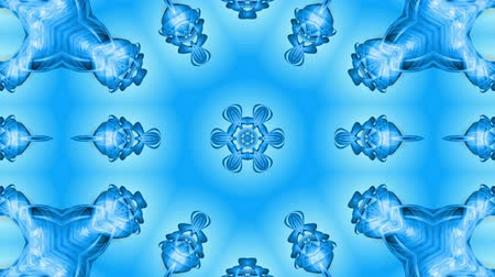 csillogás : Abstract snowflake in motion of the blue lines of ribbons on a blue background. Kaleidoscopic effect. Winter glass ice composition. 4k seamless frames with matte brightness as alpha channel. Stock mozgókép