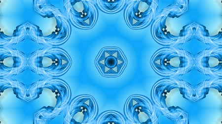 hallucination : Abstract snowflake in motion of the blue lines of ribbons on a blue background. Kaleidoscopic effect. Winter glass ice composition. 4k seamless frames with matte brightness as alpha channel. Stock Footage