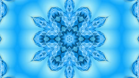 перевод : Abstract snowflake in motion of the blue lines of ribbons on a blue background. Kaleidoscopic effect. Winter glass ice composition. 4k seamless frames with matte brightness as alpha channel. Стоковые видеозаписи