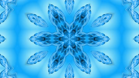 kar taneleri : Abstract snowflake in motion of the blue lines of ribbons on a blue background. Kaleidoscopic effect. Winter glass ice composition. 4k seamless frames with matte brightness as alpha channel. Stok Video