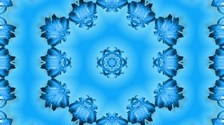 밝기 : Abstract snowflake in motion of the blue lines of ribbons on a blue background. Kaleidoscopic effect. Winter glass ice composition. 4k seamless frames with matte brightness as alpha channel. 3 무비클립