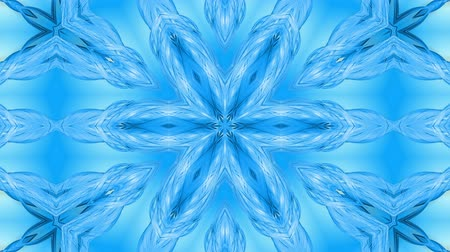 밝기 : Abstract snowflake in motion of the blue lines of ribbons on a blue background. Kaleidoscopic effect. Winter glass ice composition. 4k seamless frames with matte brightness as alpha channel. 6 무비클립