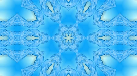 parlaklık : Abstract snowflake in motion of the blue lines of ribbons on a blue background. Kaleidoscopic effect. Winter glass ice composition. 4k seamless frames with matte brightness as alpha channel. 7 Stok Video