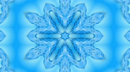밝기 : Abstract snowflake in motion of the blue lines of ribbons on a blue background. Kaleidoscopic effect. Winter glass ice composition. 4k seamless frames with matte brightness as alpha channel. 8