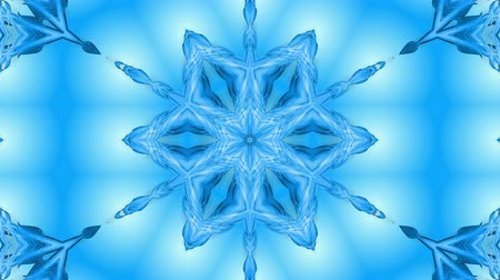 parlaklık : Abstract snowflake in motion of the blue lines of ribbons on a blue background. Kaleidoscopic effect. Winter glass ice composition. 4k seamless frames with matte brightness as alpha channel. 9