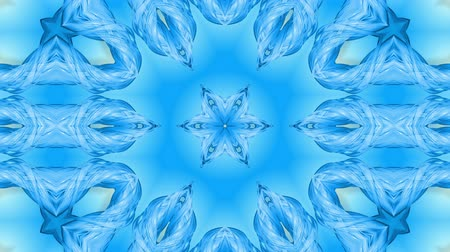 parlaklık : Abstract snowflake in motion of the blue lines of ribbons on a blue background. Kaleidoscopic effect. Winter glass ice composition. 4k seamless frames with matte brightness as alpha channel. 12