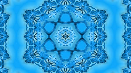 밝기 : Abstract snowflake in motion of the blue lines of ribbons on a blue background. Kaleidoscopic effect. Winter glass ice composition. 4k seamless frames with matte brightness as alpha channel. 17