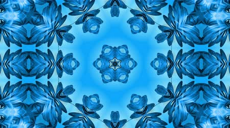 밝기 : Abstract snowflake in motion of the blue lines of ribbons on a blue background. Kaleidoscopic effect. Winter glass ice composition. 4k seamless frames with matte brightness as alpha channel. 19