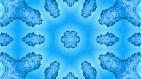 밝기 : Abstract snowflake in motion of the blue lines of ribbons on a blue background. Kaleidoscopic effect. Winter glass ice composition. 4k seamless frames with matte brightness as alpha channel. 29 무비클립