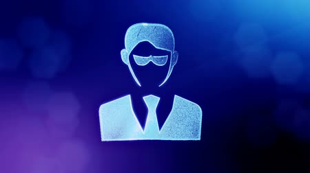 distorção : icon of businessman or hacker.. Background made of glow particles as vitrtual hologram. 3D seamless animation with depth of field, bokeh and copy space. Blue v7