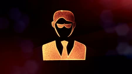 techno wave : icon of businessman or hacker.. Background made of glow particles as vitrtual hologram. 3D seamless animation with depth of field, bokeh and copy space. v7