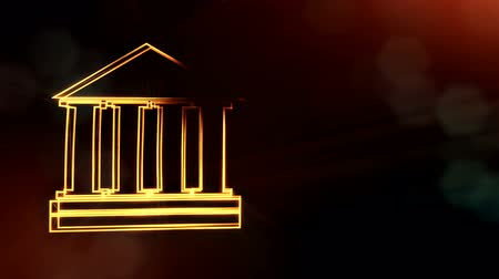 distorção : icon of bank. Financial background made of glow particles as vitrtual hologram.. 3D seamless animation with depth of field, bokeh and copy space. v7