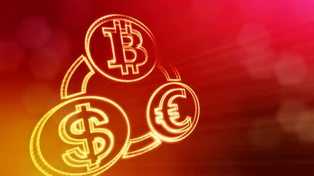 estrangeiro : symbol bitcoin euro and dollar in a circular bunch. Financial background made of glow particles. Shiny 3D seamless animation with depth of field, bokeh and copy space.. Red v7