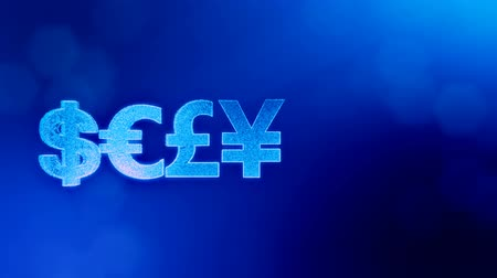 opaque : symbol dollar euro pound and yen. Financial background made of glow particles as virtual hologram. 3D seamless animation with depth of field, bokeh and copy space. Blue v7