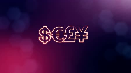 шум : symbol bitcoin dollar euro pound and yen. Financial background made of glow particles as vitrtual hologram. 3D seamless animation with depth of field, bokeh and copy space. Violet v7