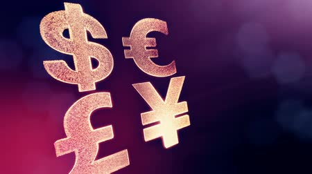 pound : symbol dollar euro pound and yen. Financial background made of glow particles as virtual hologram. 3D seamless animation with depth of field, bokeh and copy space. Violet v7 Stock Footage