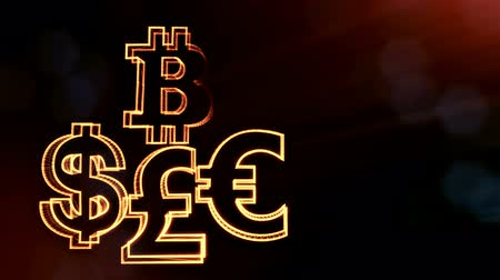 libras : symbol bitcoin dollar euro pound. Financial background made of glow particles as virtual hologram. 3D seamless animation with depth of field, bokeh and copy space. v7