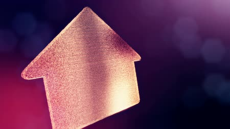 distorção : icon of house. Background made of glow particles as virtual hologram. 3D seamless animation with depth of field, bokeh and copy space.