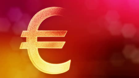 opaque : Animation icon or emblem of Euro. Financial background made of glow particles as virtual hologram. Shiny 3D loop animation with depth of field, bokeh and copy space. Red v7