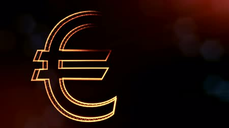 opaque : Animation icon or emblem of Euro. Financial background made of glow particles as virtual hologram. Shiny 3D loop animation with depth of field, bokeh and copy space.. v7