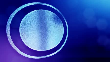 opaque : round icon with copyspace. Background made of glow particles as virtual hologram. 3D seamless animation with depth of field, bokeh and copy space. Blue v7 Stock Footage