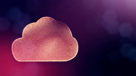 opaque : icon of cloud. Background made of glow particles as virtual hologram. 3D seamless animation with depth of field, bokeh and copy space. Violet v7