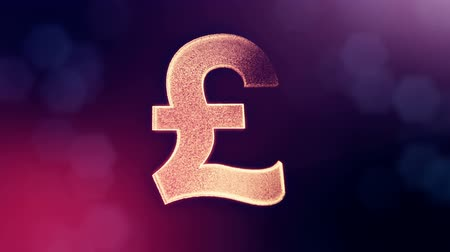 pounds : Animation icon or emblem of GBR Logo or pound. Background made of glow particles as virtual hologram. Shiny 3D loop animation with depth of field, bokeh and copy space. Violet v7 Stock Footage