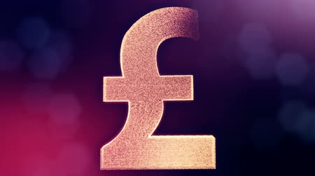 pounds : Animation icon or emblem of GBR Logo or pound.. Background made of glow particles as vitrtual hologram. Shiny 3D loop animation with depth of field, bokeh and copy space. Violet v7 Stock Footage