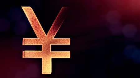 fintech : Animation icon or emblem of Japanese yen. Background made of glow particles as virtual hologram. Shiny 3D seamless animation with depth of field, bokeh and copy space. v7