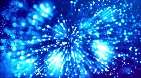 electric ray : blue shiny sparkling particles with light rays move in a viscous liquid. It is 4k 3d animation as abstract background for holiday presentations with luminous particles, bokeh and lights effects. V7