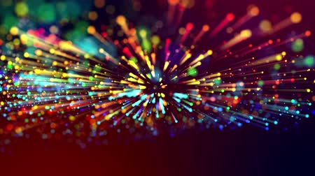 fibra : 4k abstract background with multicolor light rays like laser show, with shining bokeh sparkling particles for bright festive events. Use luma matte as alpha channel to cut out particles and rays. V15 Vídeos