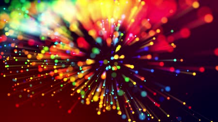 fibra : 4k abstract background with shining bokeh sparkling particles for bright festive events, with multicolor light rays like laser show. Use luma matte as alpha channel to cut out particles and rays. V2
