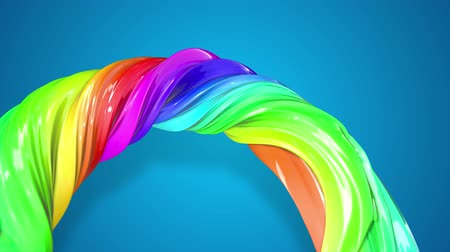 basic shape : abstract background with rainbow color stripes that moving in a circle and shiny on blue background in 4k. 3d seamless looped animation. Use luma matte as alpha chanel to cut out rainbow structure