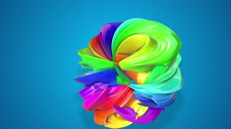 çarpmak : abstract background with rainbow color stripes that moving in a circle and shiny on blue background in 4k. 3d seamless looped animation. Use luma matte as alpha channel to cut out rainbow structure Stok Video
