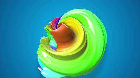 helezon : abstract background with rainbow color stripes that moving in a circle and shiny on blue background in 4k. 3d seamless looped animation. Use luma matte as alpha channel to cut out rainbow structure Stok Video