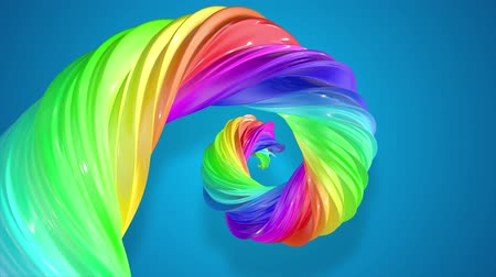 caramelo : abstract background with rainbow color stripes that moving in a spiral and shiny on blue background in 4k. 3d seamless looped animation. Use luma matte as alpha chanel to cut out rainbow structure.