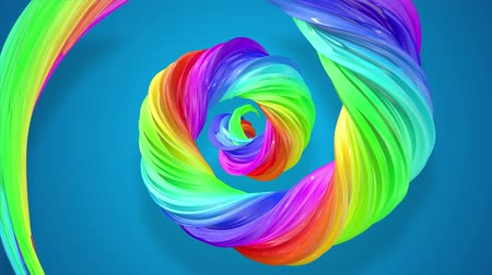 광휘 : abstract background with rainbow color stripes that moving in a spiral and shiny on blue background in 4k. 3d seamless looped animation. Use luma matte as alpha channel to cut out rainbow structure. 무비클립
