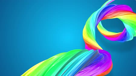çarpmak : abstract background with rainbow color stripes that moving in a spiral and shiny on blue background in 4k. 3d seamless looped animation. Use luma matte as alpha channel to cut out rainbow structure. Stok Video