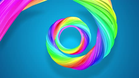 sheen : abstract background with rainbow color stripes that moving in a spiral and shiny on blue background in 4k. 3d seamless looped animation. Use luma matte as alpha channel to cut out rainbow structure. Stock Footage