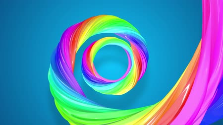 basic shape : abstract background with rainbow color stripes that moving in a spiral and shiny on blue background in 4k. 3d seamless looped animation. Use luma matte as alpha channel to cut out rainbow structure. Stock Footage