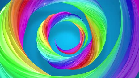 caramelo : abstract background with rainbow color stripes that moving in a spiral and shiny on blue background in 4k. 3d seamless looped animation. Use luma matte as alpha channel to cut out rainbow structure. Vídeos