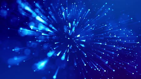 просвет : blue shiny sparkling particles with light rays move in a viscous liquid. It is 4k 3d animation as abstract background for holiday presentations with luminous particles, bokeh and lights effects. V16